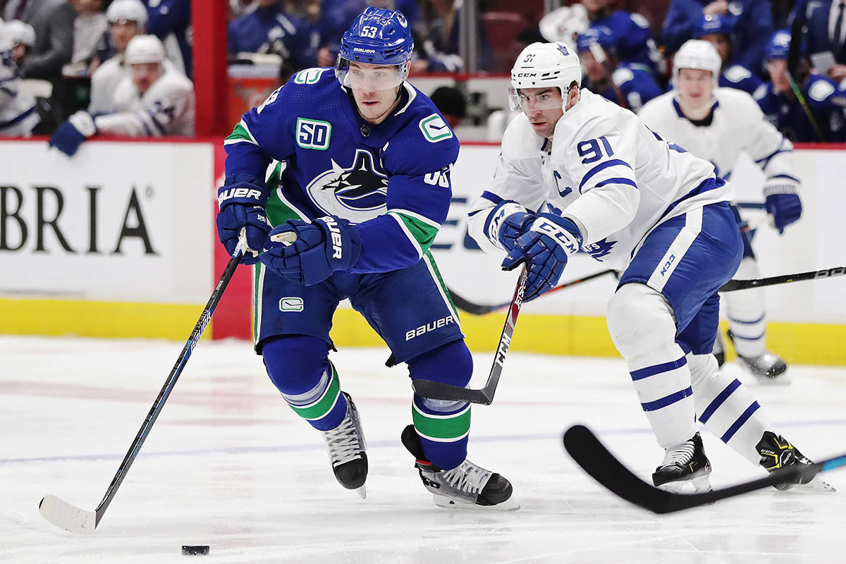 Vancouver Canucks' Bo Horvat protects the puck from Toronto Maple Leafs' John Tavares during the first period of an NHL hockey game in Vancouver, on Tuesday December 10, 2019. THE CANADIAN PRESS/Darryl Dyck