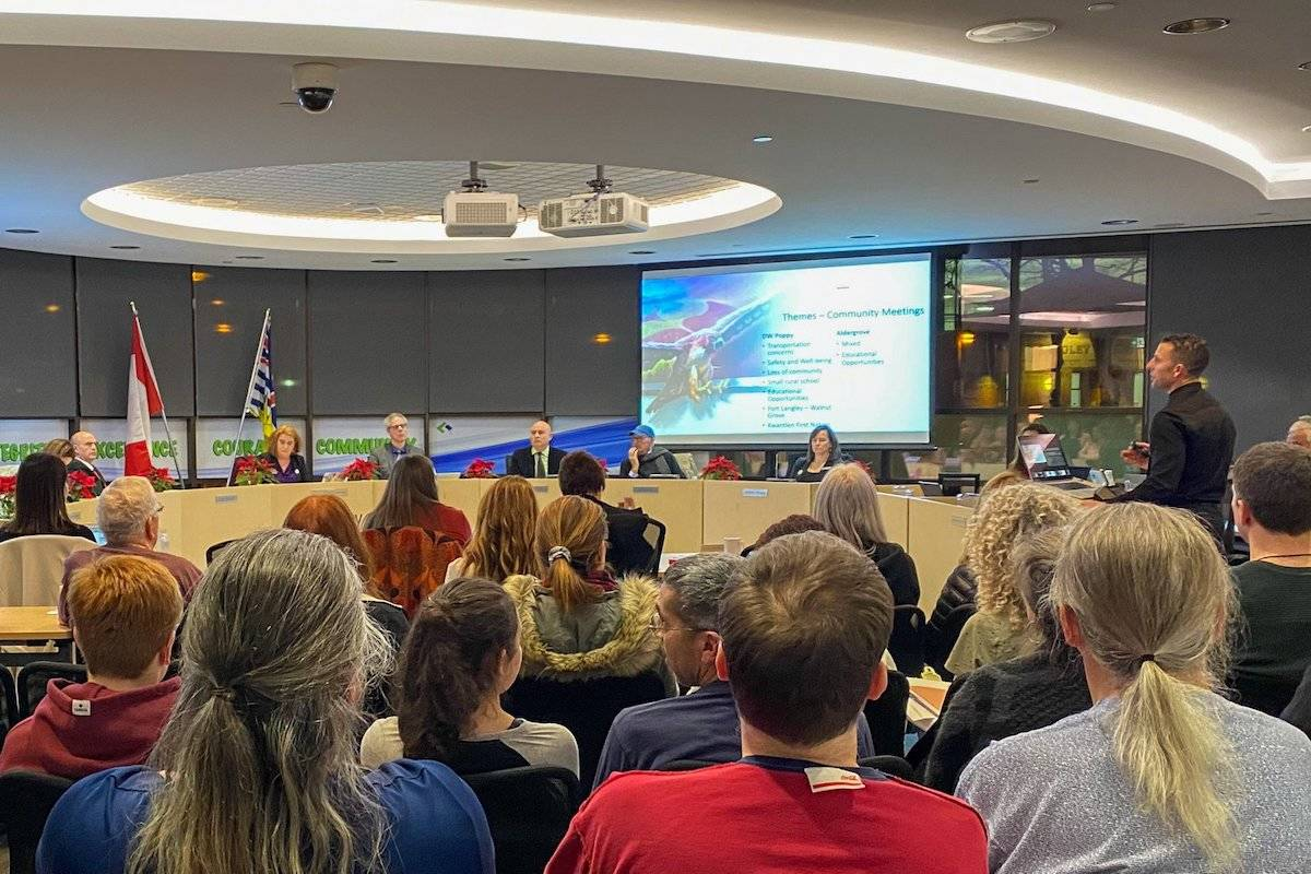 Students, parents, and teachers of the Aldergrove and D.W. Poppy regions waited anticipation of the board's decision regarding the implementation of a middle school in East Langley. (Special to the Aldergrove Star)