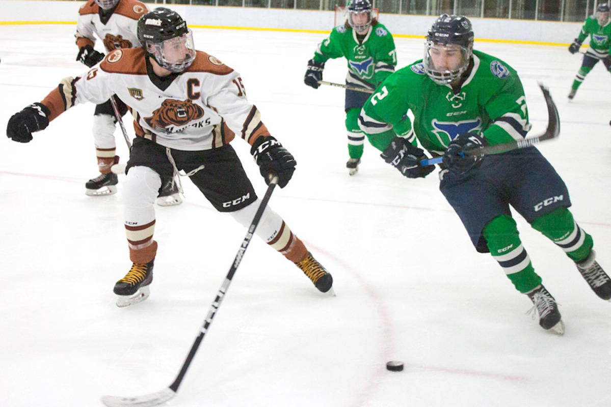 Aldergrove Kodiaks team captain Ty Pickering, 20, could not get a five-goal lead back from the White Rock Whalers at a Dec. 4 home game. (Kurt Langmann/Special to the Star)