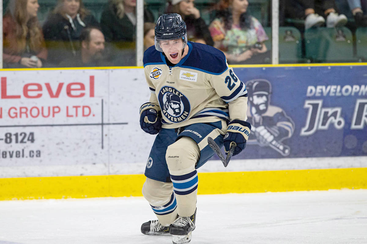 Rivermen player Brian Scoville triggered the teddy bear toss at George Preston when he scored the first goal in what would become a 5-2 win over Trail. (Rivermen)