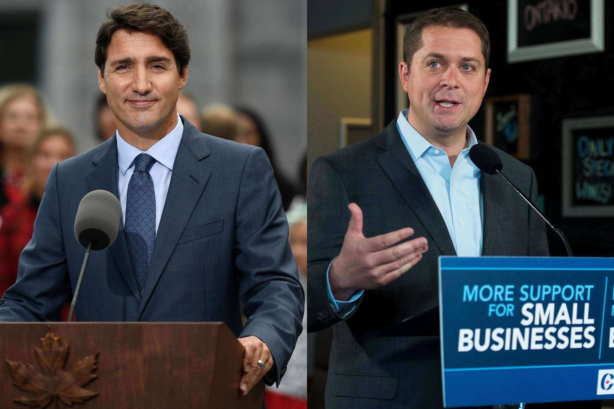 Liberal Leader Justin Trudeau, Conservative Leader Andrew Scheer. (The Canadian Press photos)