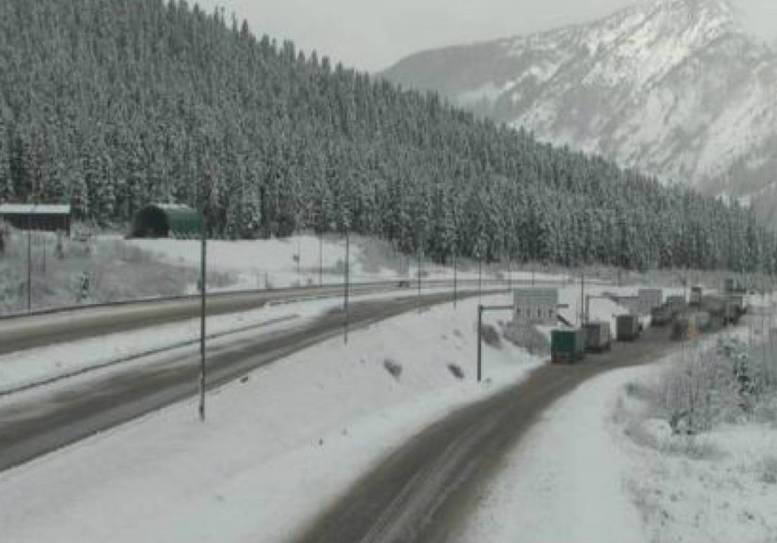 Another snowfall warning has been issued for the Coquihalla Highway (Photo courtesy of Drive BC)