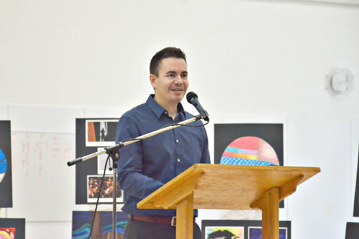 Teacher George Costopoulos spoke at the school grand opening on behalf of the staff. (Heather Colpitts/Langley Advance Times)