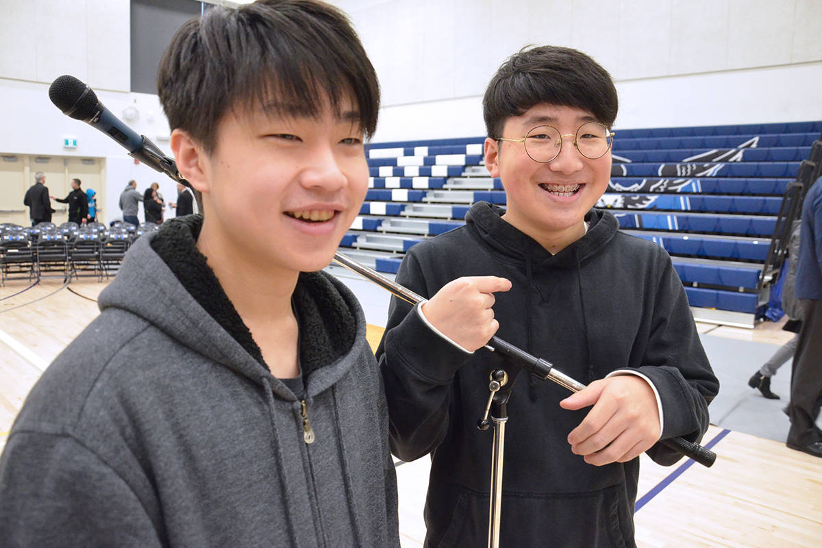 Jeff Chiang and Andrew Cho went to the former R.E. Mountain Secondary, which is now the Peter Ewart Middle School, and like the non-traditional elements included in the new Mountain. (Heather Colpitts/Langley Advance Times)