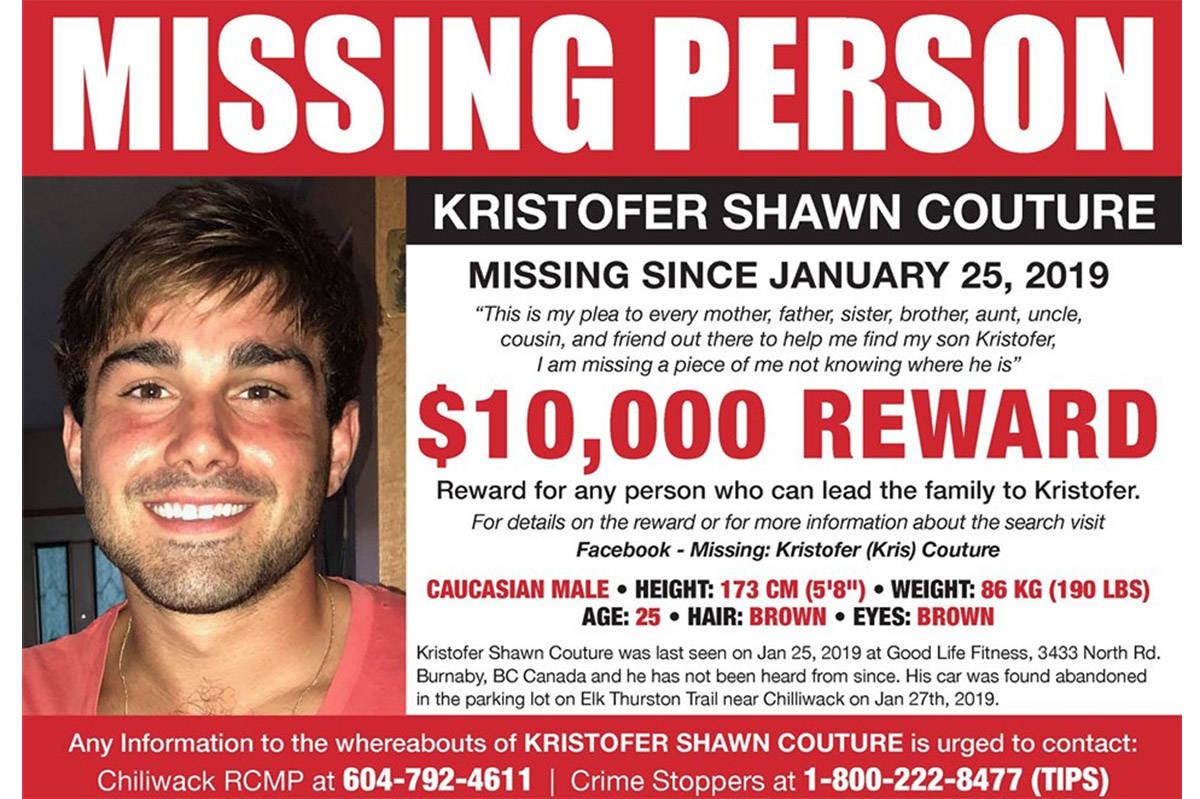 The mother of missing Kristofer Shawn Couture, 25, put out a $10,000 reward offer for information leading to finding her son.