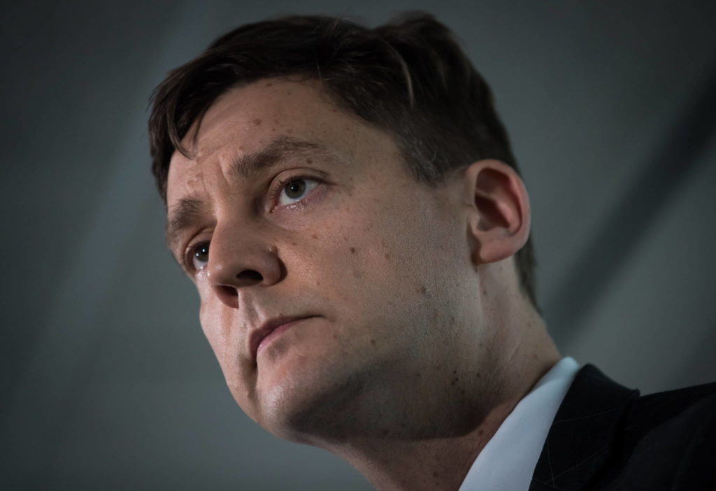 FILE – British Columbia Attorney General David Eby looks on during a news conference in Vancouver on Friday, May 24, 2019. THE CANADIAN PRESS/Darryl Dyck