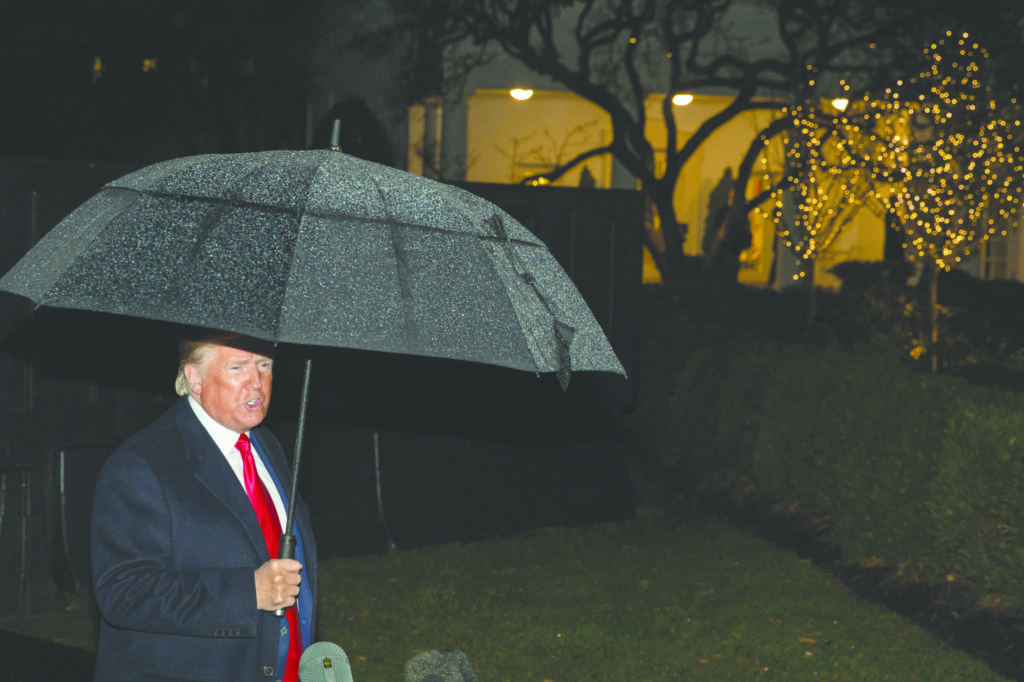 President Donald Trump speaks with reporters on the South Lawn of the White House Tuesday, Dec. 10, 2019, in Washington, before departing for a campaign rally in Hershey, Pa. (AP Photo/Manuel Balce Ceneta)
