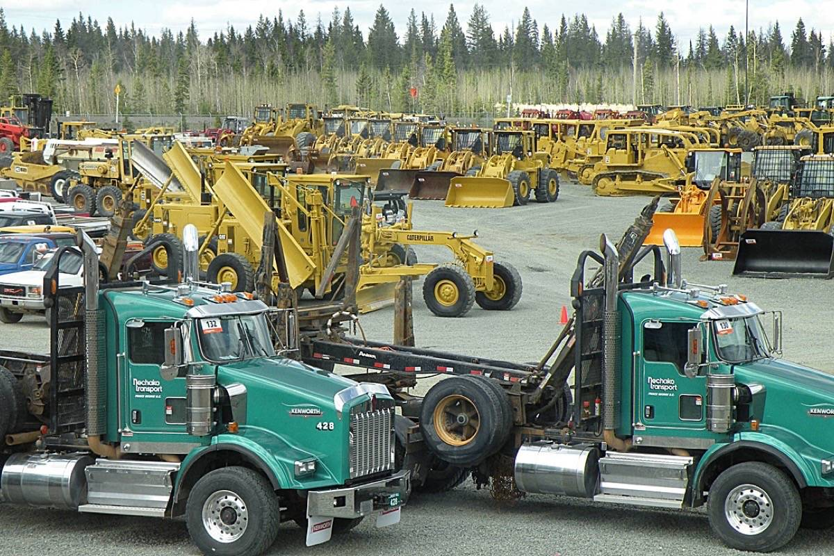 Logging equipment up for auction on Vancouver Island in 2009, the last big downturn in the B.C. coast forest industry. (Tom Fletcher/Black Press)