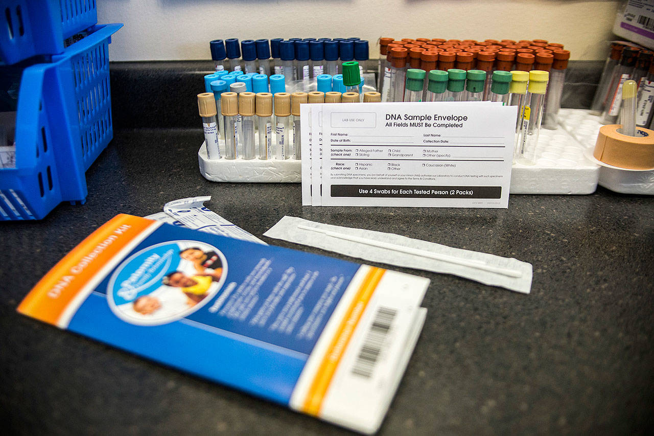 An example of a DNA collection test used at Any Lab Test Now on Friday, July 20, 2018 in Everett, Wa. (Olivia Vanni / The Herald)