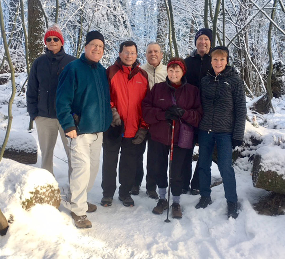 Members of the Surrey Trekkers Volkssport Club during a winter walk through the Langley Nicomekl Flats Area in 2018. (Len Colebert/Special to Langley Advance Times)