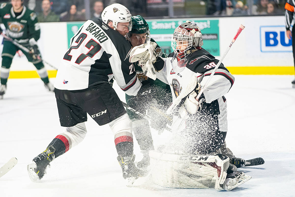 Giants netminder David Tendeck stopped 17 of 20 shots against the Silvertips Saturday night (Dec. 15) in Everett (Chris Mast/special to Langley Advance Times)
