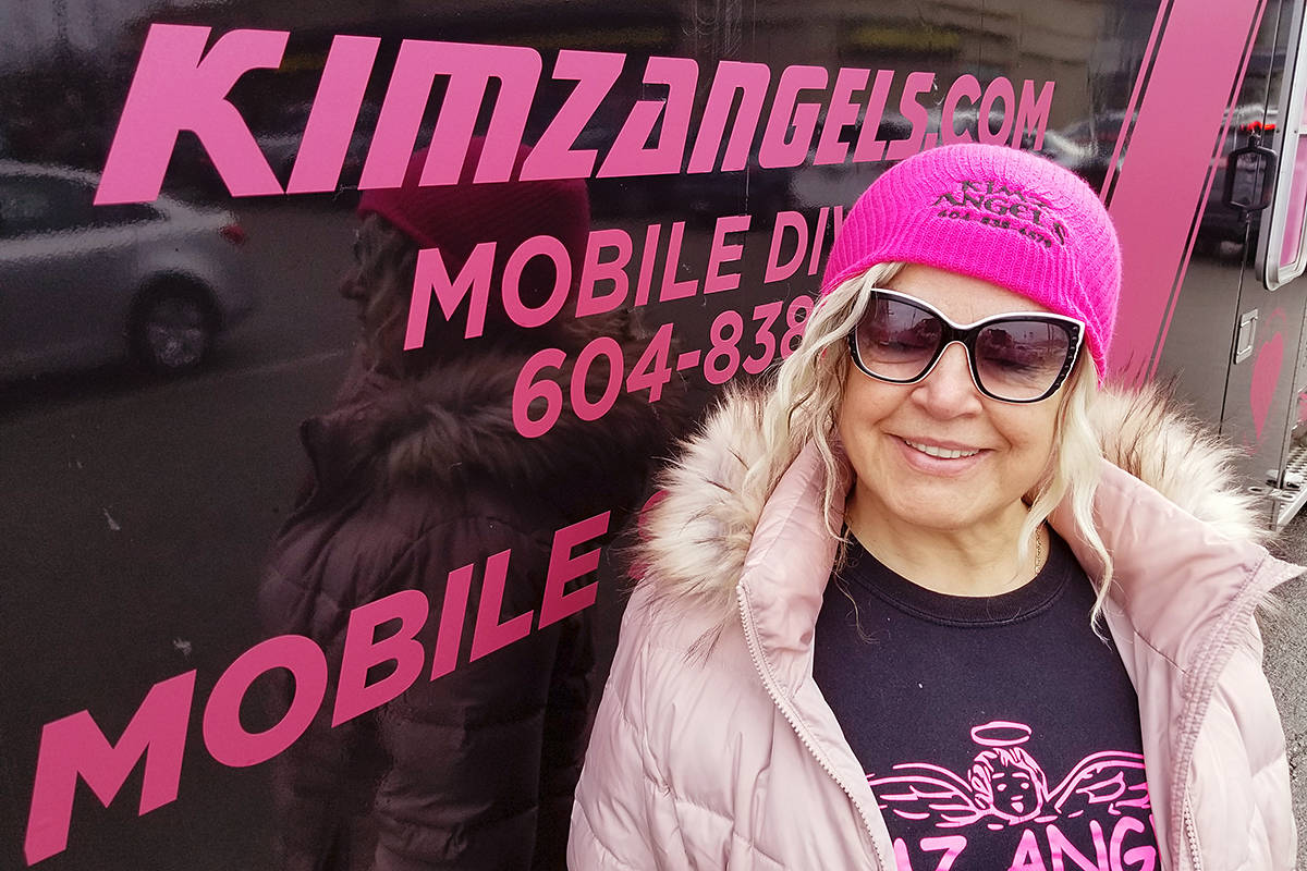 Founder Kimberly Snow at the 'fill the ambulance' donation drive by Kimz Angels at the Murrayville IGA on Saturday, Dec. 14. (Dan Ferguson/Langley Advance Times)