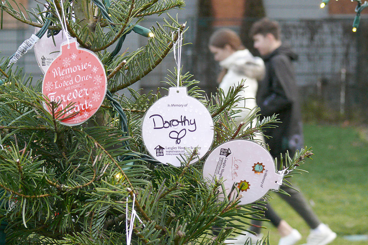 Langley Hospice offered a chance to honour the memory of a loved one on several Celebrate a Life trees at the Miracle on Church Street market in Fort Langley on Saturday, Dec. 14. (Dan Ferguson/Langley Advance Times)