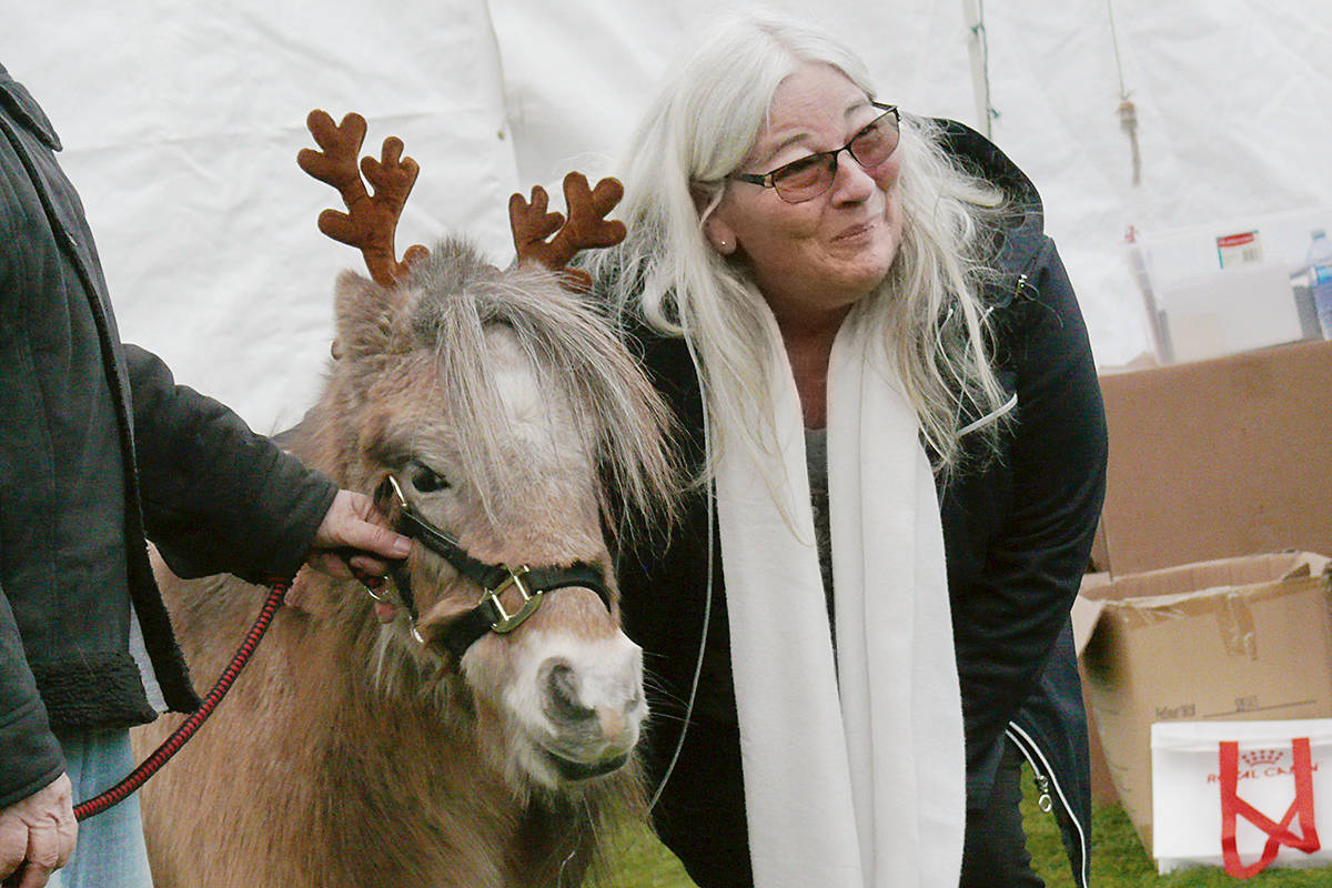'Irish' the miniature pony, was wearing reindeer antlers to pose with Eileen Hamann from Harrison Hot Springs at the Miracle on Church Street market in Fort Langley on Saturday, Dec. 14. (Dan Ferguson/Langley Advance Times)