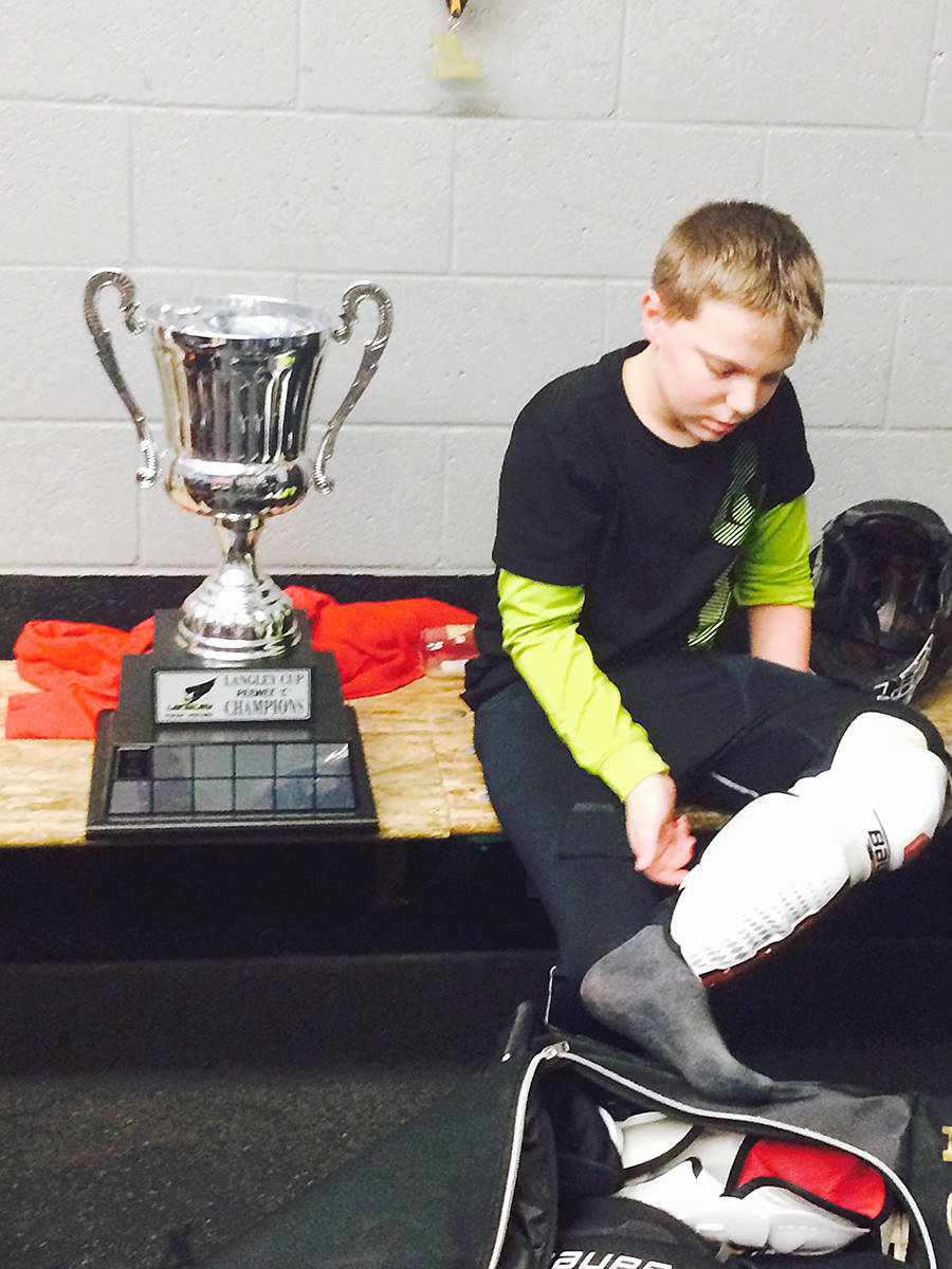 Carson Crimeni played on the team that won the peewee Langley Cup in 2017. This picture is one of his grandfather's favourite images of the teen, who died after he was found in medical distress in a Langley park. (Darrel Crimeni/Special to Langley Advance Times)