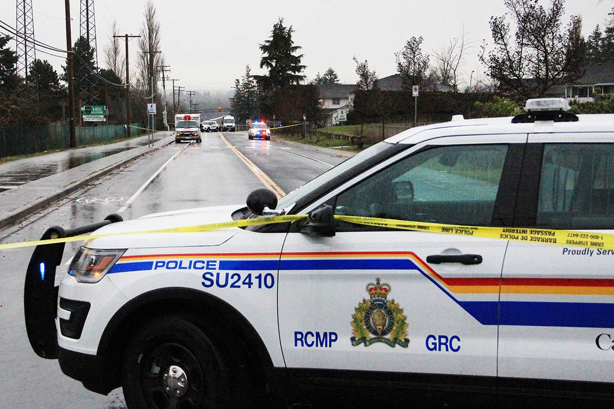 A second woman has been struck by a car in Cloverdale today (Dec. 16). The first pedestrian was seriously injured and taken to hospital (pictured), but the second collision was fatal. (Photo: Malin Jordan)