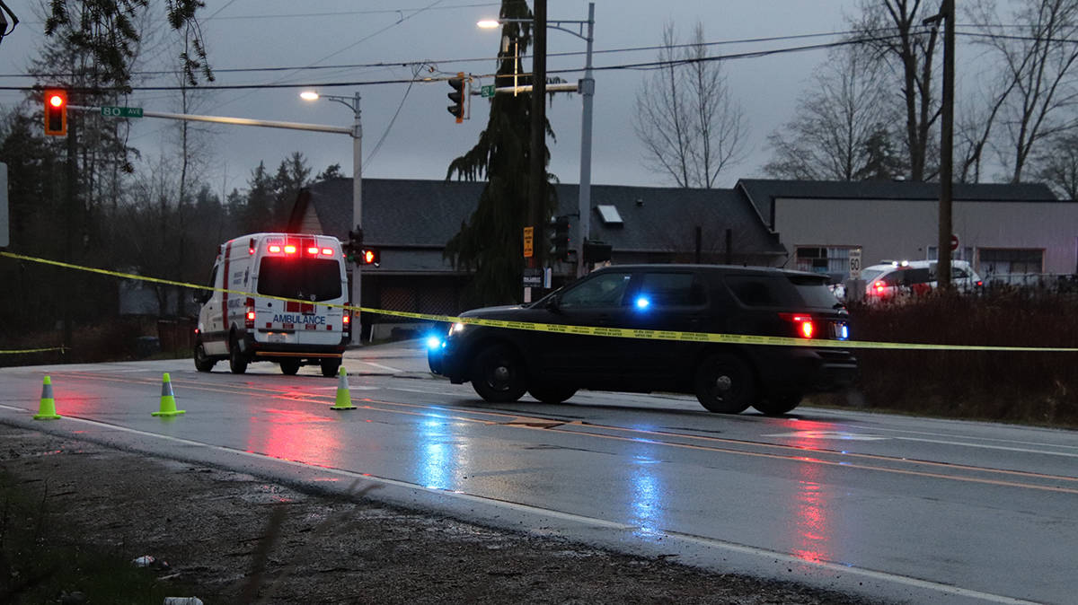 A second woman was struck by a car in Cloverdale today (Dec. 16). She died from her injuries. (Photo: Shane MacKichan)