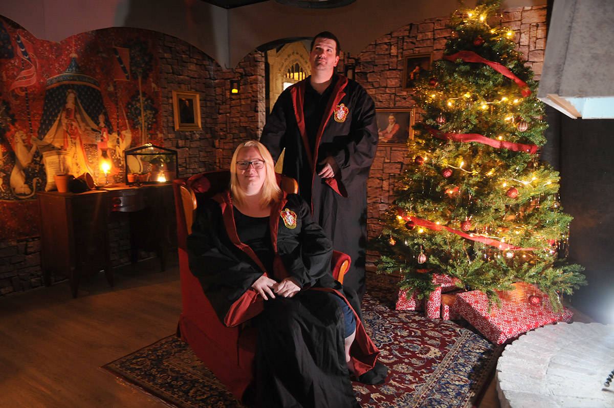 Katharine and Johnathan Wall have been working all year transforming their Chilliwack house – inside and out – into a scene straight out of a Harry Potter movie. (Jenna Hauck/ The Progress)