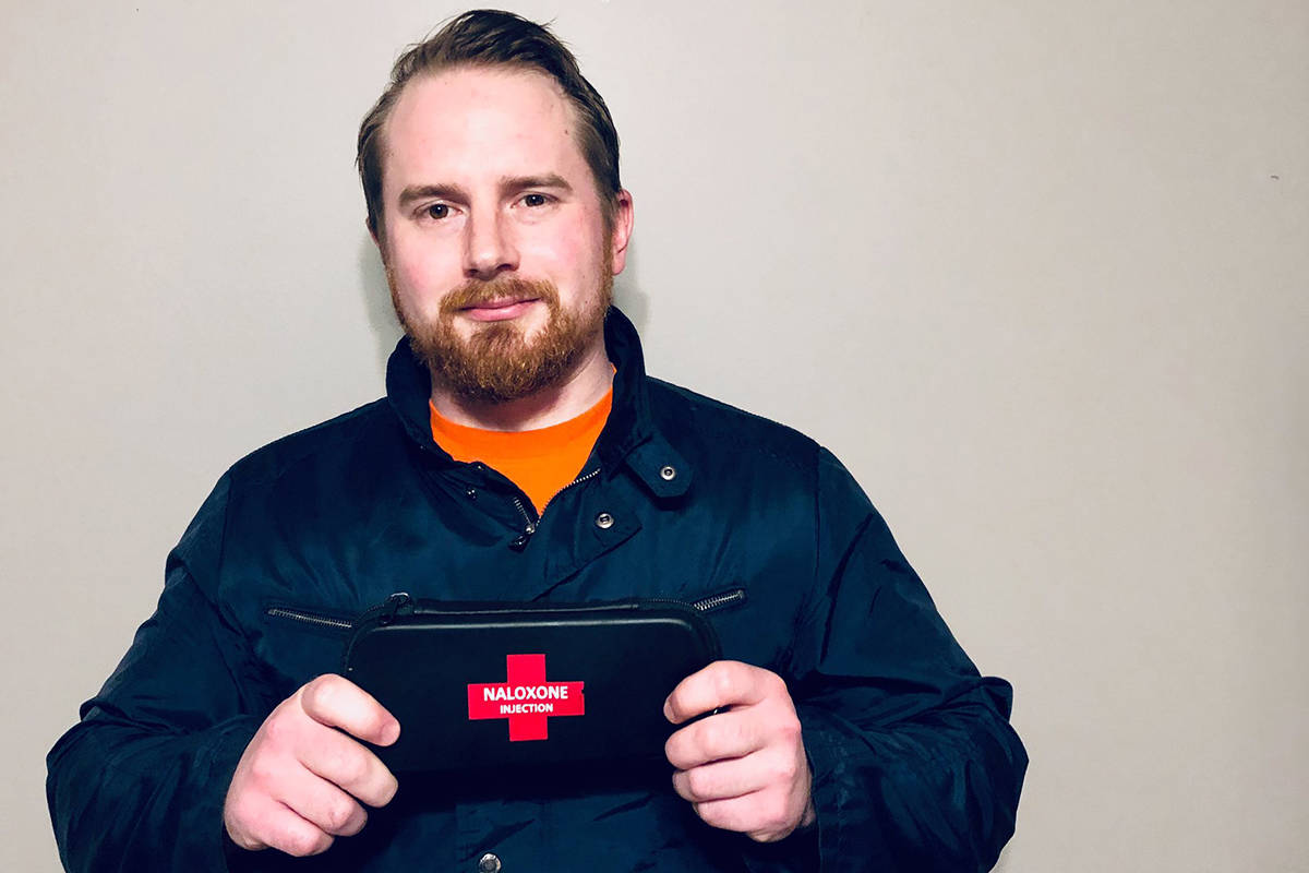 Corey Ranger holds up his naloxone kit, something he always carries around. Having the product and training on hand has helped him save three lives since moving to Victoria in April. (File Contributed/ Corey Ranger)