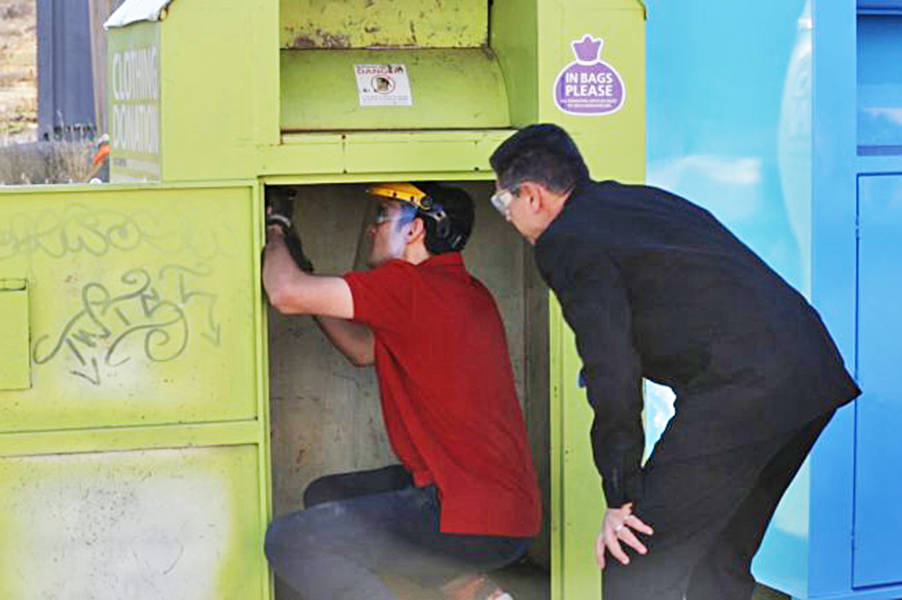 UBC Okanagan engineering students have come up with a number of retrofits to make clothing donation bins safer, the school says. (Contributed)
