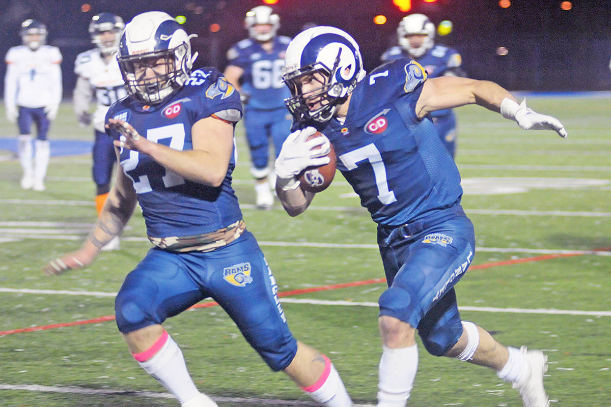 Langley Rams star running back No. 7, Andrew Pocrnic has signed with BC Lions. (Langley Advance Times file)