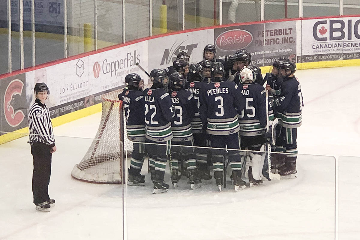 Thunderbirds celebrate a goal in Kelowna (Jeff Dods/Special to Langley Advance Times)