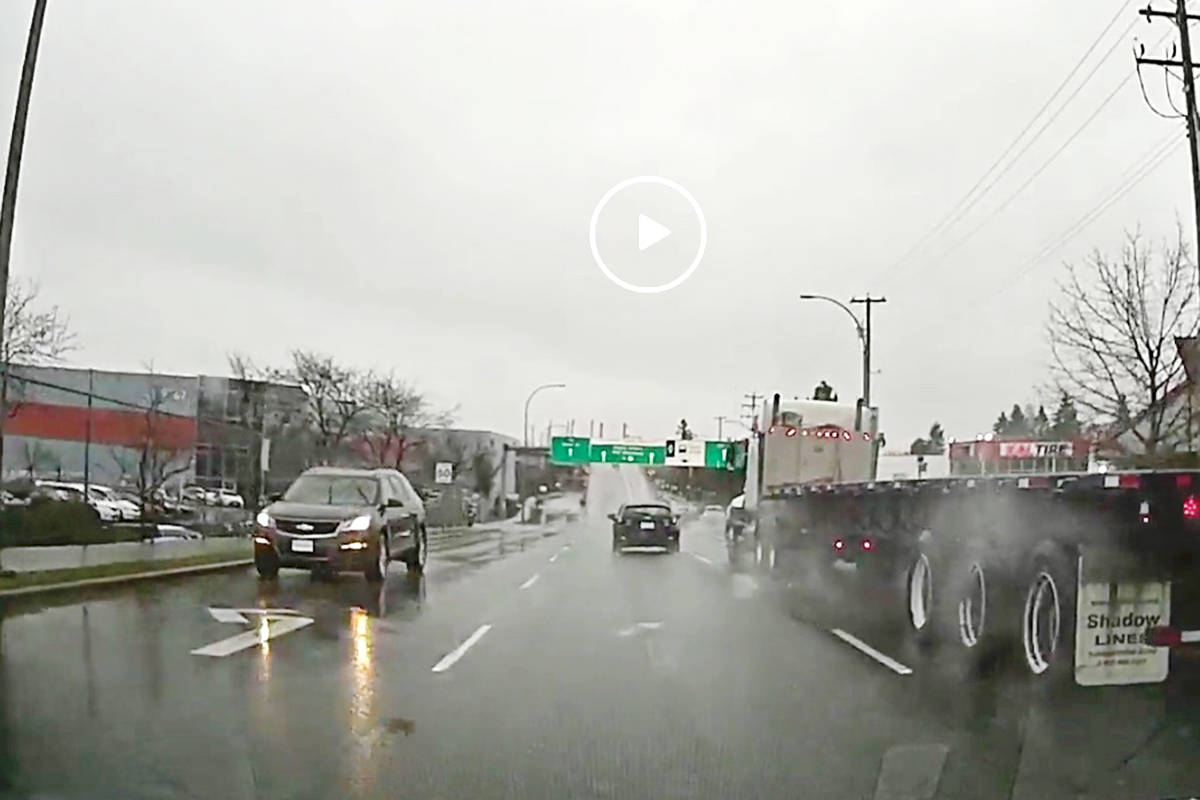 A driver posted a video on Reddit showing an SUV coming towards northbound traffic on a one-way street near the Golden Ears Bridge on Dec. 16.