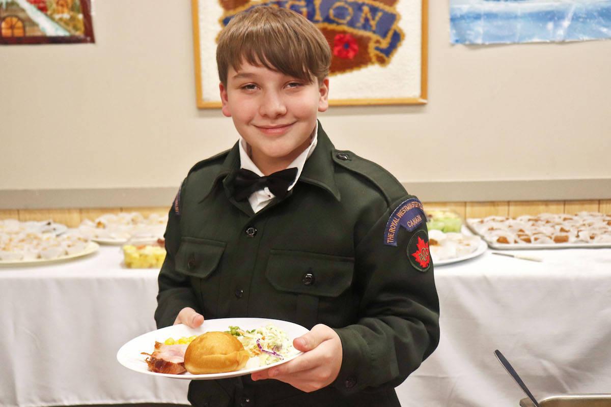 Cadet Steven Baldwin, 15, enjoyed a traditional turkey dinner at Aldergrove's 1922 regiment mess dinner. (Sarah Grochowski photo)