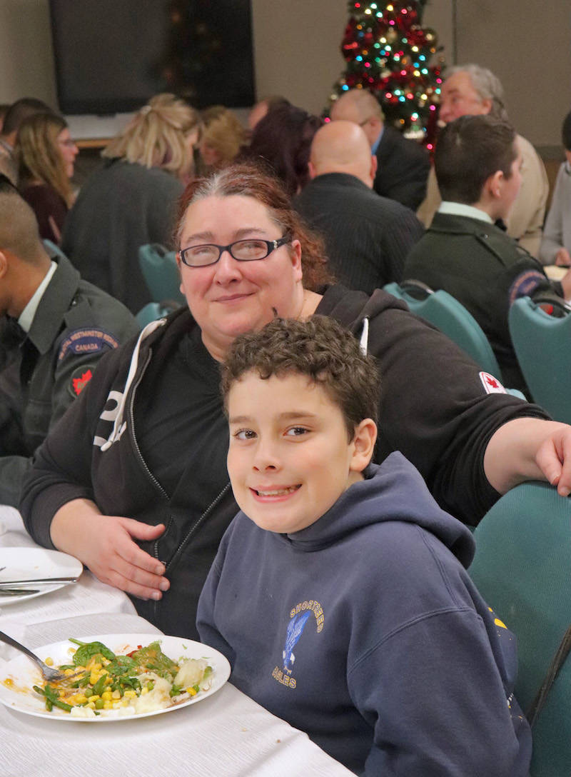 Natasha Baldwin was convinced to attend the dinner by her youngest son, Nikki, who falls a year short of qualifying for the cadets program. (Sarah Grochowski photo)
