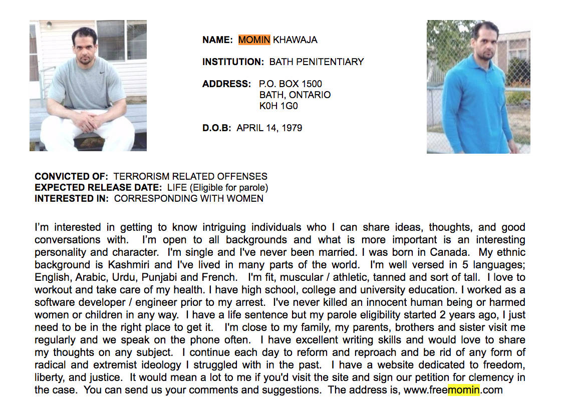 Convicted terrorist Momin Khawaja's profile on the website Canadian Inmates Connect as of December 2019. (Canadian Inmates Connect.)