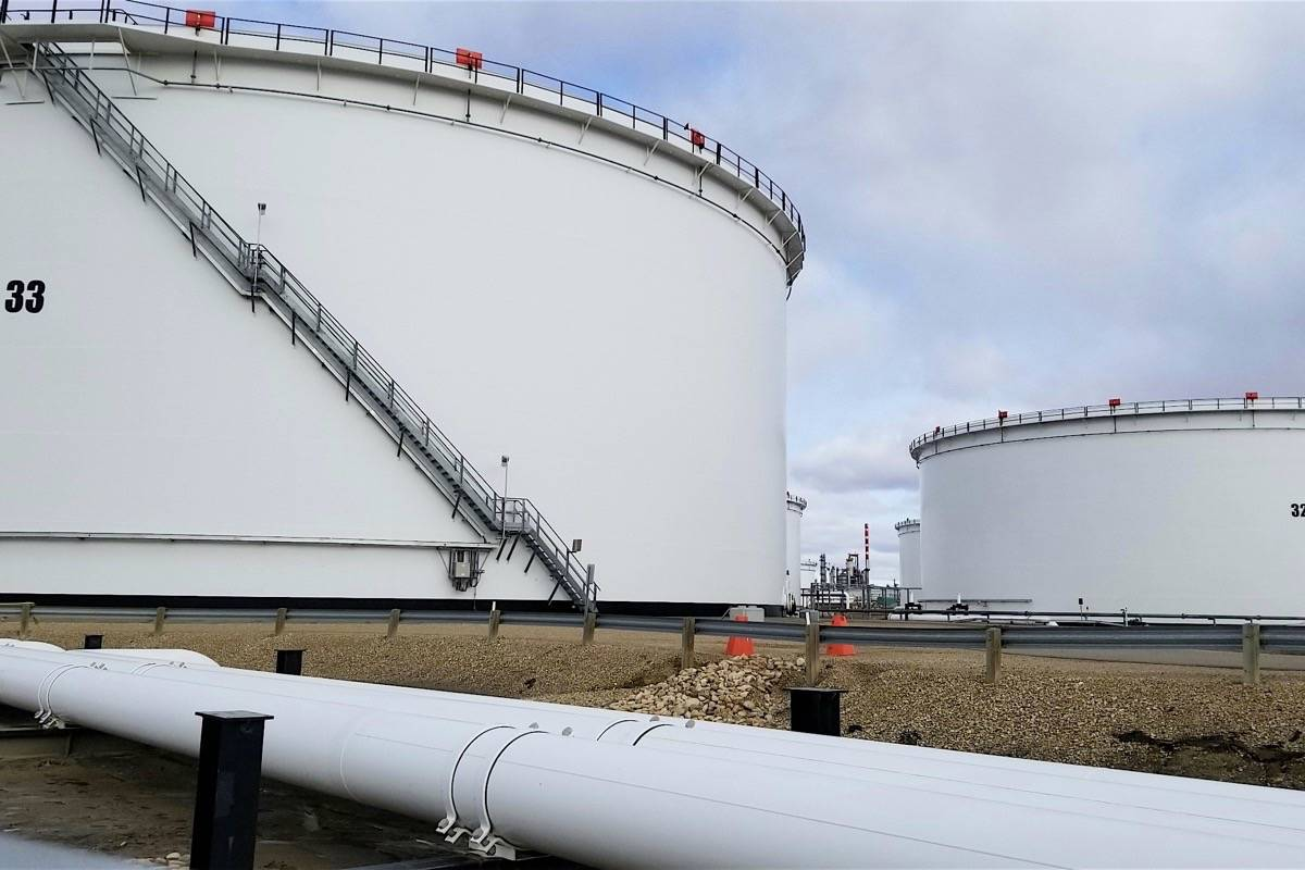 Four new storage tanks have been constructed at Trans Mountain's Edmonton terminal to prepare for opening of the oil pipeline expansion from Alberta to Westridge Terminal in Burnaby B.C. (Trans Mountain)