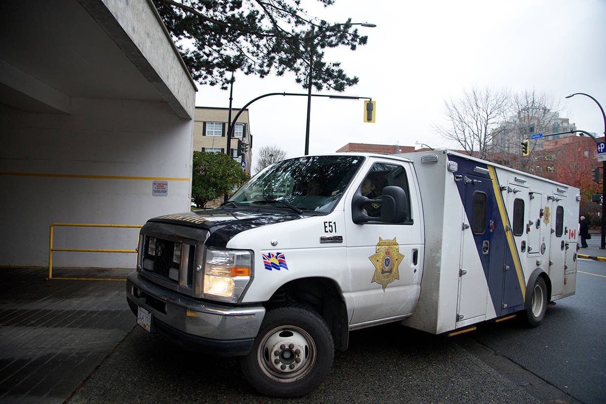 Andrew Berry arrives in a BC Sheriffs transport vehicle at the Victoria Courthouse for his sentencing hearing which is set to begin at 10 a.m. (Nicole Crescenzi/News Staff)