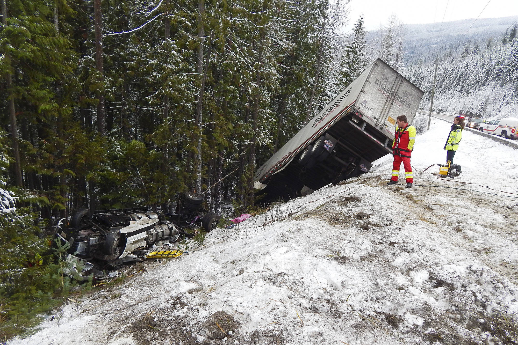 A semi truck crashed into the ditch alongside the Trans-Canada Highway near Bernie Road on Dec. 18. The passenger in the sleeper berth was trapped for six hours. (Sicamous RCMP Photo)