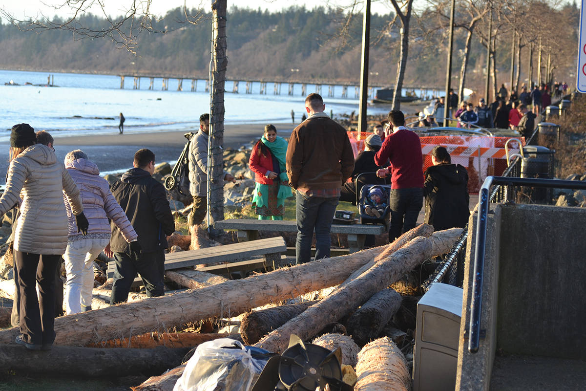 Hundreds of people visited White Rock's East Beach, despite barriers and danger warning signs posted by the City of White Rock. (Aaron Hinks file photo)