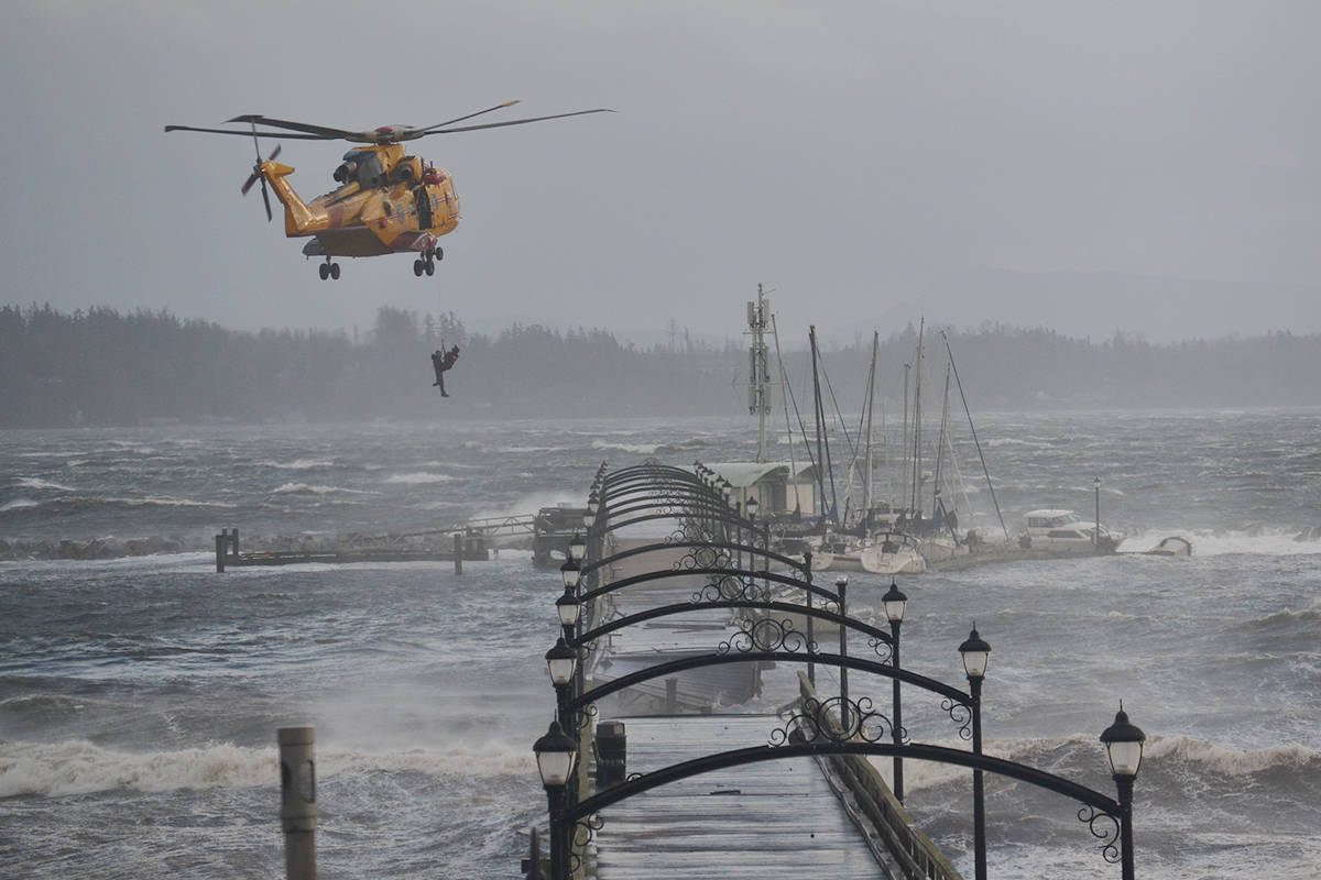 White Rock's iconic pier was destroyed after a significant windstorm Dec. 20, 2018. The damage stranded one man at the far end of the pier, who had to be rescued by helicopter. (Aaron Hinks file photo)