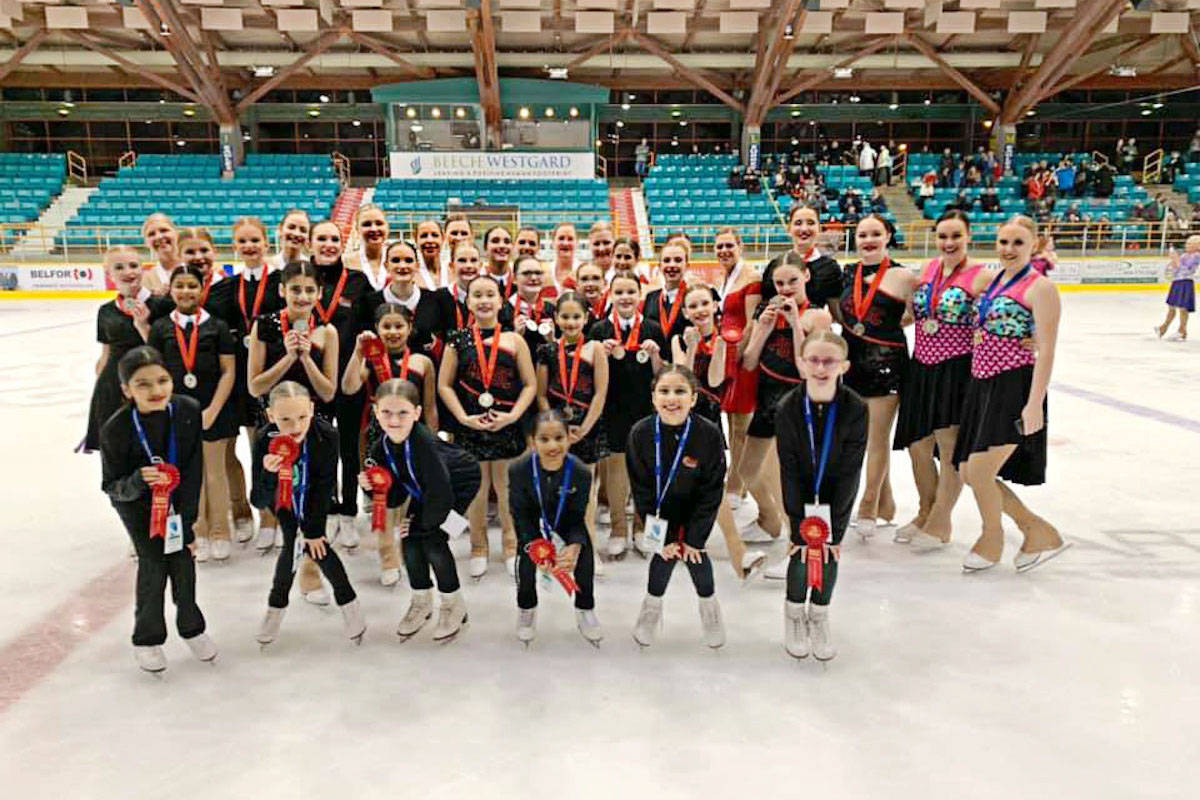 Five synchronized skating teams from Aldergrove Skating Club competed at BC/Yukon championships in Surrey this month, all bringing back hardware or accolades. (Colleen Laferriere/Special to the Aldergrove Star)