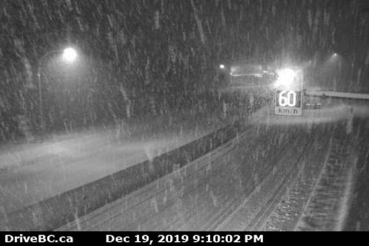 It's snowing heavily on Highway 5, as can be seen on the Great Bear Snowshed higway cam. The Coquihalla Highway between Merritt and Hope has been closed due to vehicle incidents. (Drive BC image)