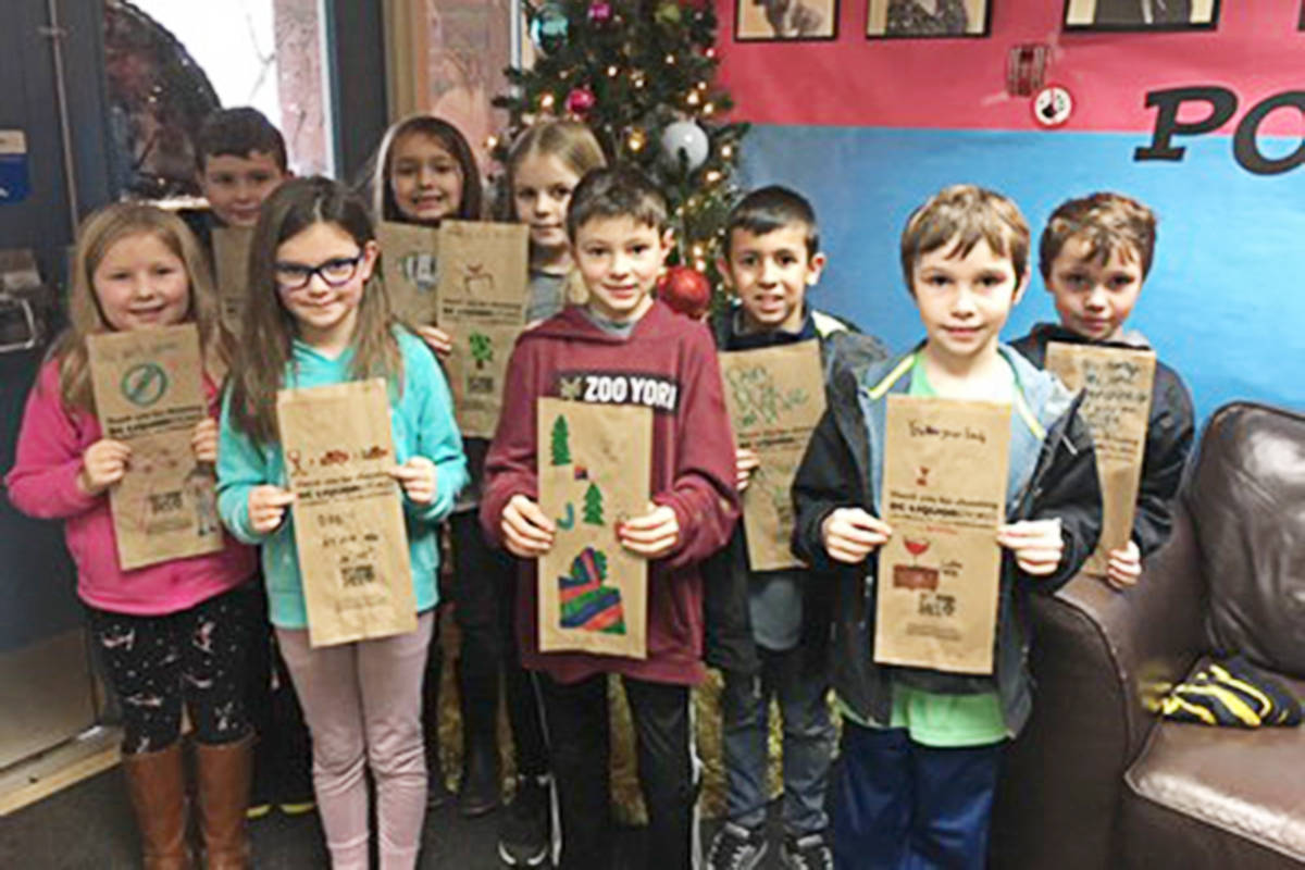Langley elementary school kids created these bags to warn people about the dangers of drinking and driving. (Langley RCMP)