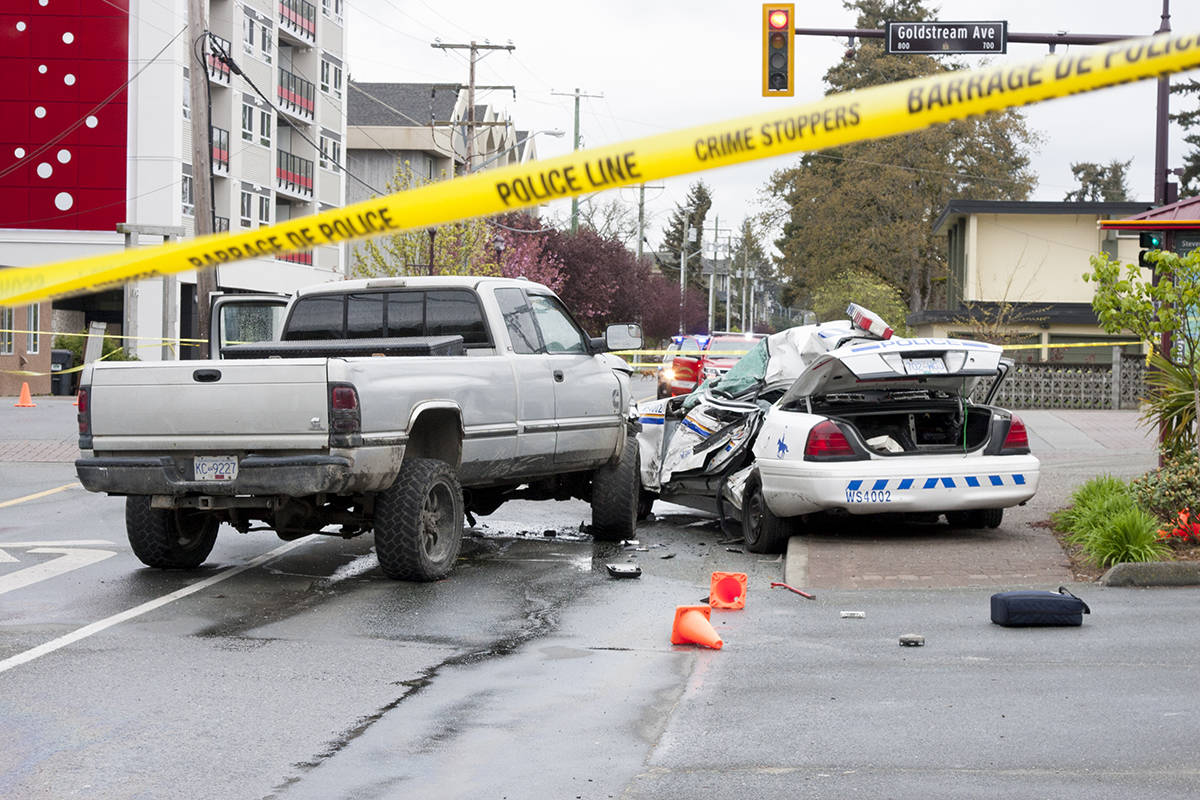 April 5/16- A serious motor vehicle incident on Peatt Road at Goldstream Avenue involving RCMP officer Const. Sarah Beckett occurred at around 3:30 a.m. April 5. (Katherine Engqvist/News Staff)