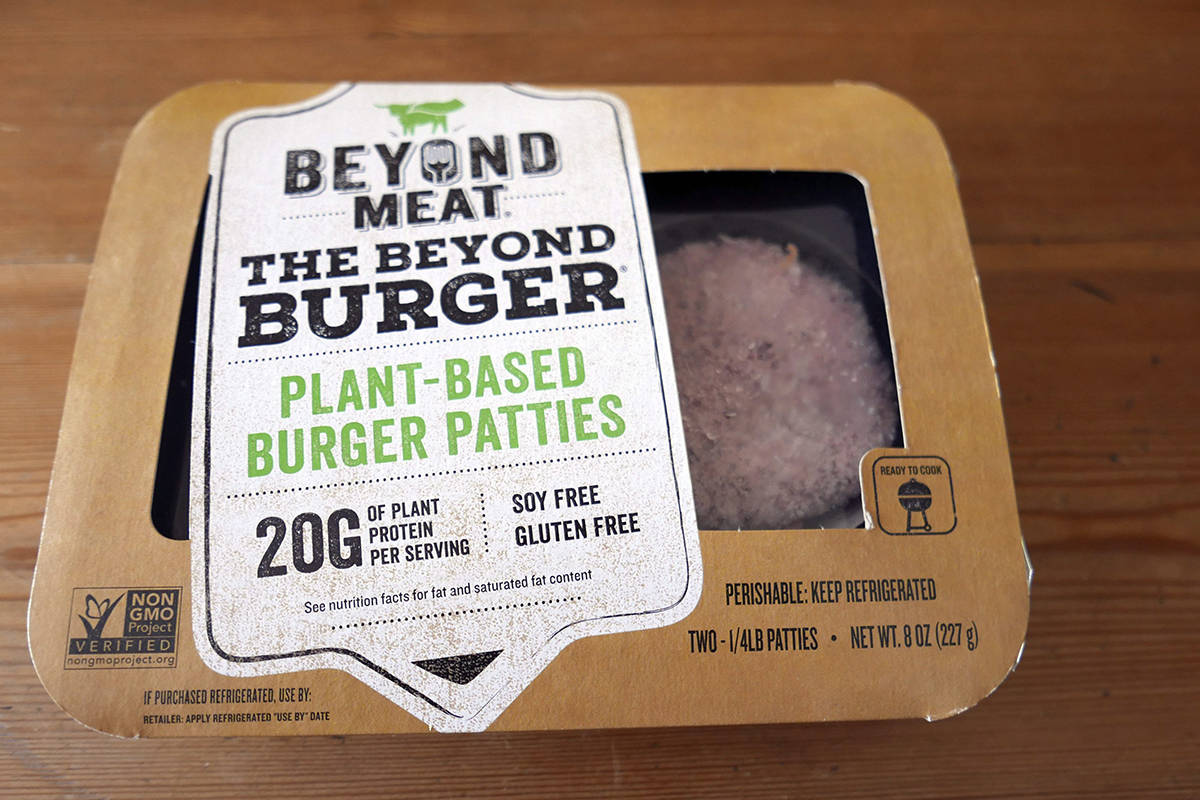 A package of meatless burgers are seen in Orlando, Fla., on June 26, 2019. When A&W started serving Beyond Meat veggie burgers at its restaurants, the fast-food chain offered many patrons their first bite of the much touted, celebrity backed plant-based patty. In the year and a half since, Canadians continued searching for plant-based options at home and on the go. By the time A&W added a plant-based nugget in December, many fast-food chains — even long-time holdout McDonald's Canada — boasted a trendy vegetarian menu item, too. THE CANADIAN PRESS/AP, John Raoux