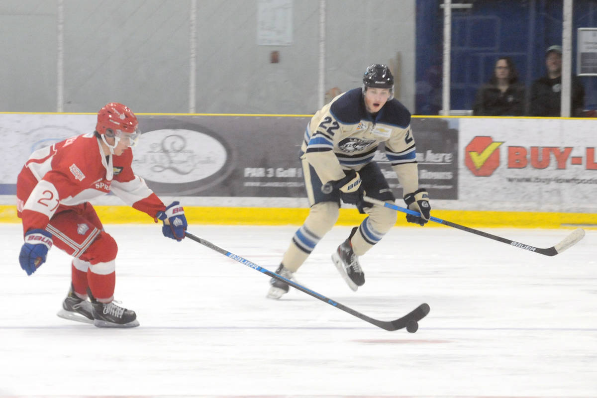 Riley Wallack chases the puck during Sunday night's (Dec. 22) game at George Preston that saw the Langley Rivermen edged 5-4 in overtime. (Dan Ferguson/Langley Advance Times)