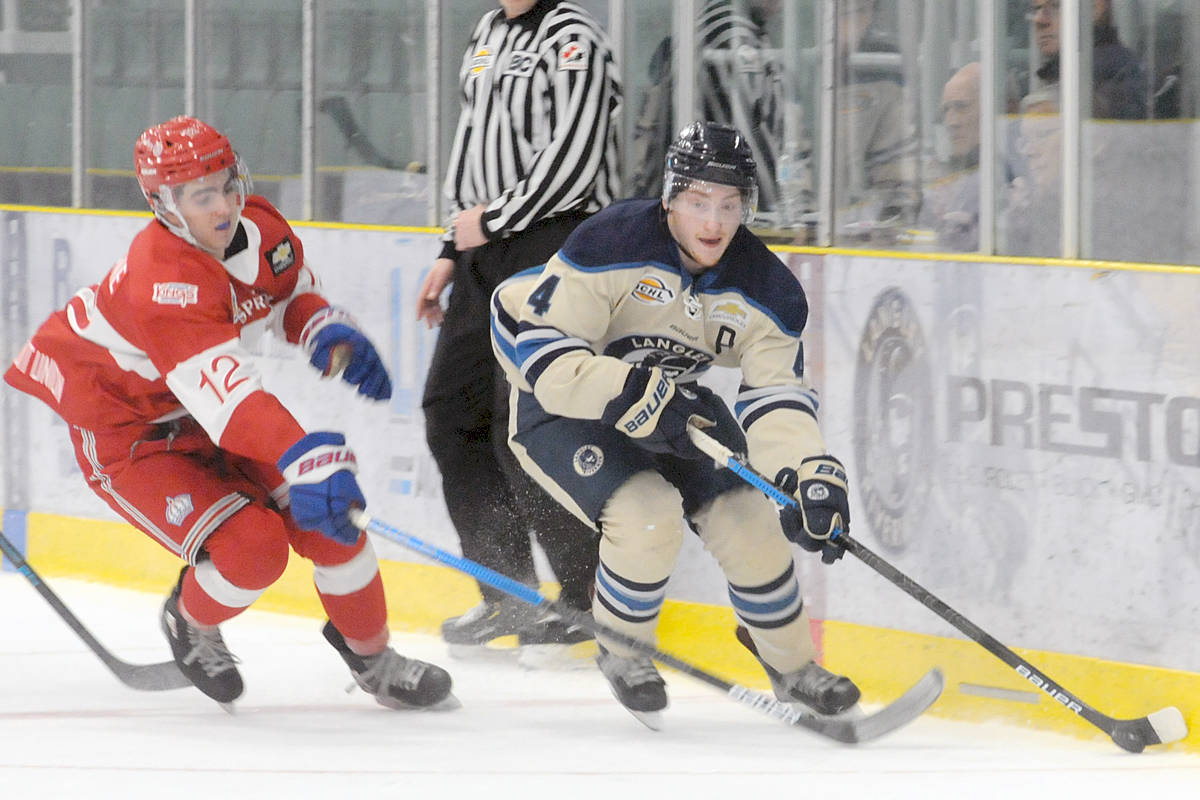 Brendan Budy scored one of four Langley Rivermen goals during Sunday's (Dec. 22) loss against the Spruce Kings. (Dan Ferguson/Langley Advance Times)