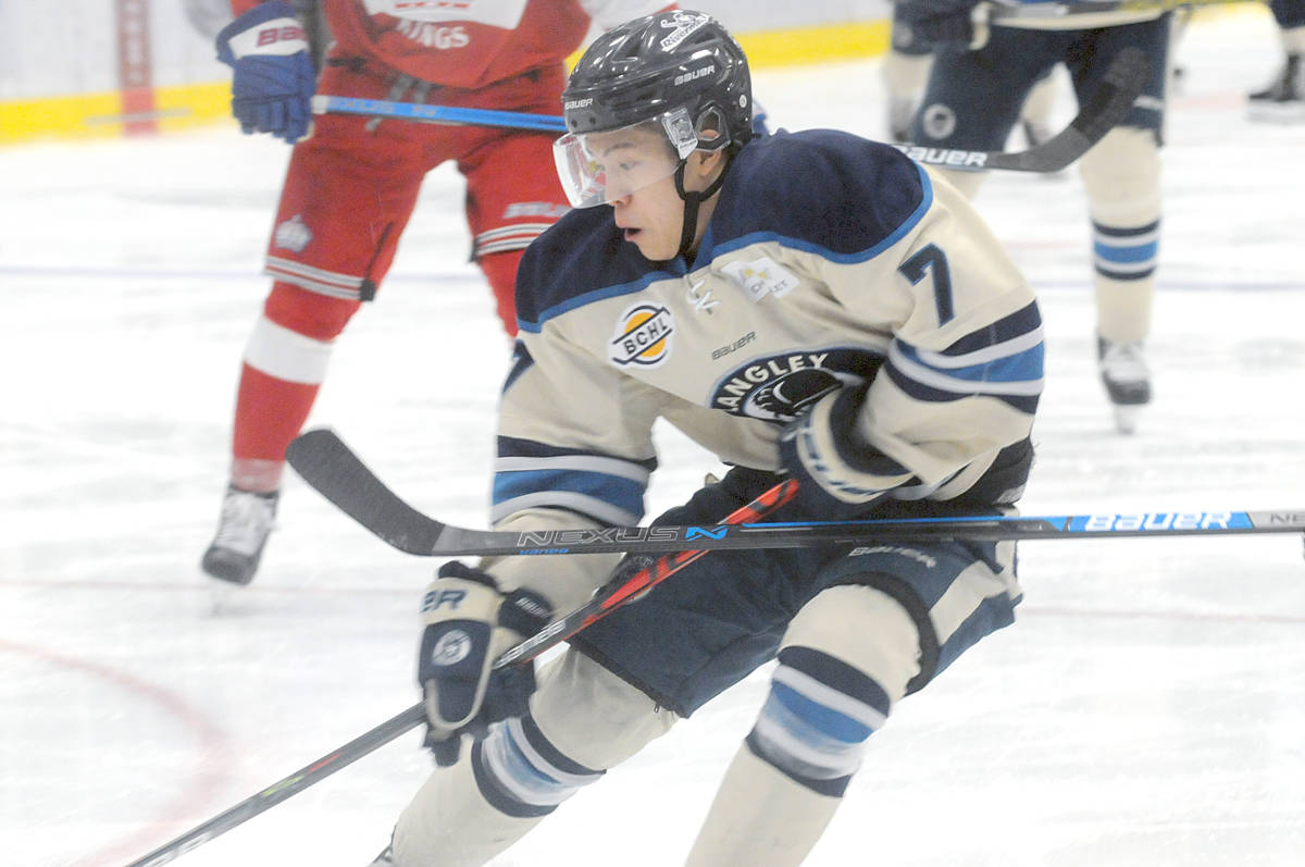 Kalen Szeto drives for the Prince George net during Sunday's (Dec. 22) game that saw the Rivermen edged 5-4 in overtime. (Dan Ferguson/Langley Advance Times)
