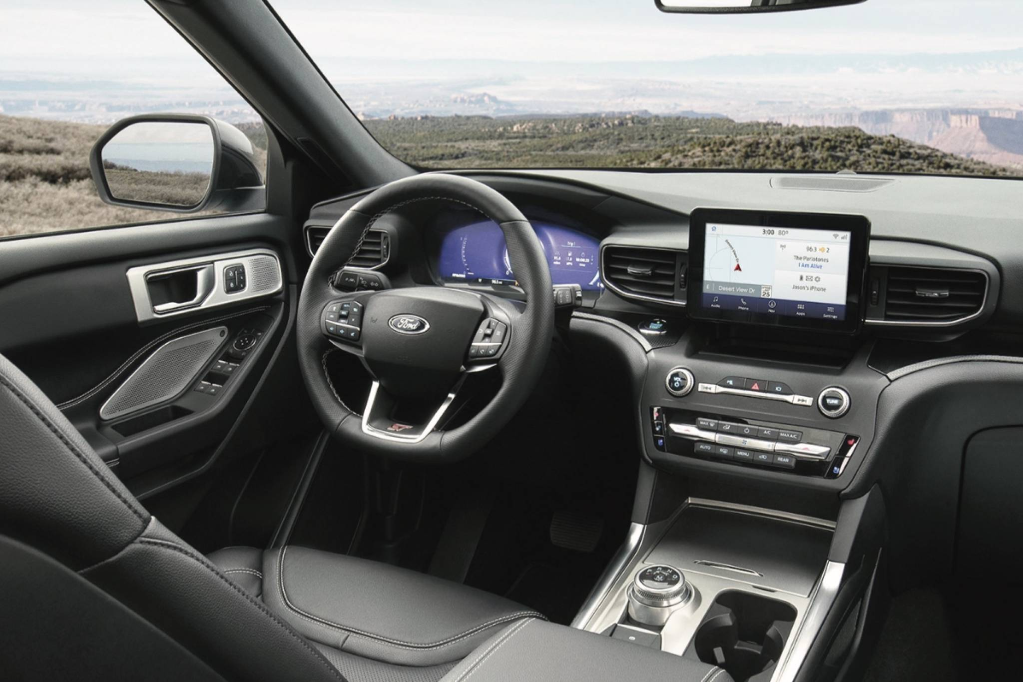 The interior layout has a new gear-selector dial that replaces the traditional shift lever, which frees up some room and declutters the look. Shown is the optional 12.3-inch instrument display that has a Mindful Mode, which leaves visible the fuel remaining and the speedometer. Photo: Ford