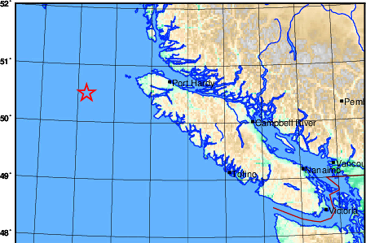 A magnitude 5.1 earthquake took place off the coast of northern Vancouver Island on Dec. 23, 2019. Earthquakes Canada map