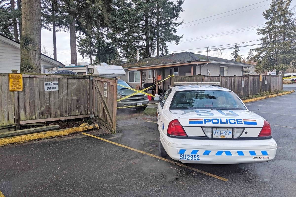 IHIT is in South Surrey, after a man was found dead inside a home in the 2200-block of 152 Street Monday night. (Aaron Hinks photo)