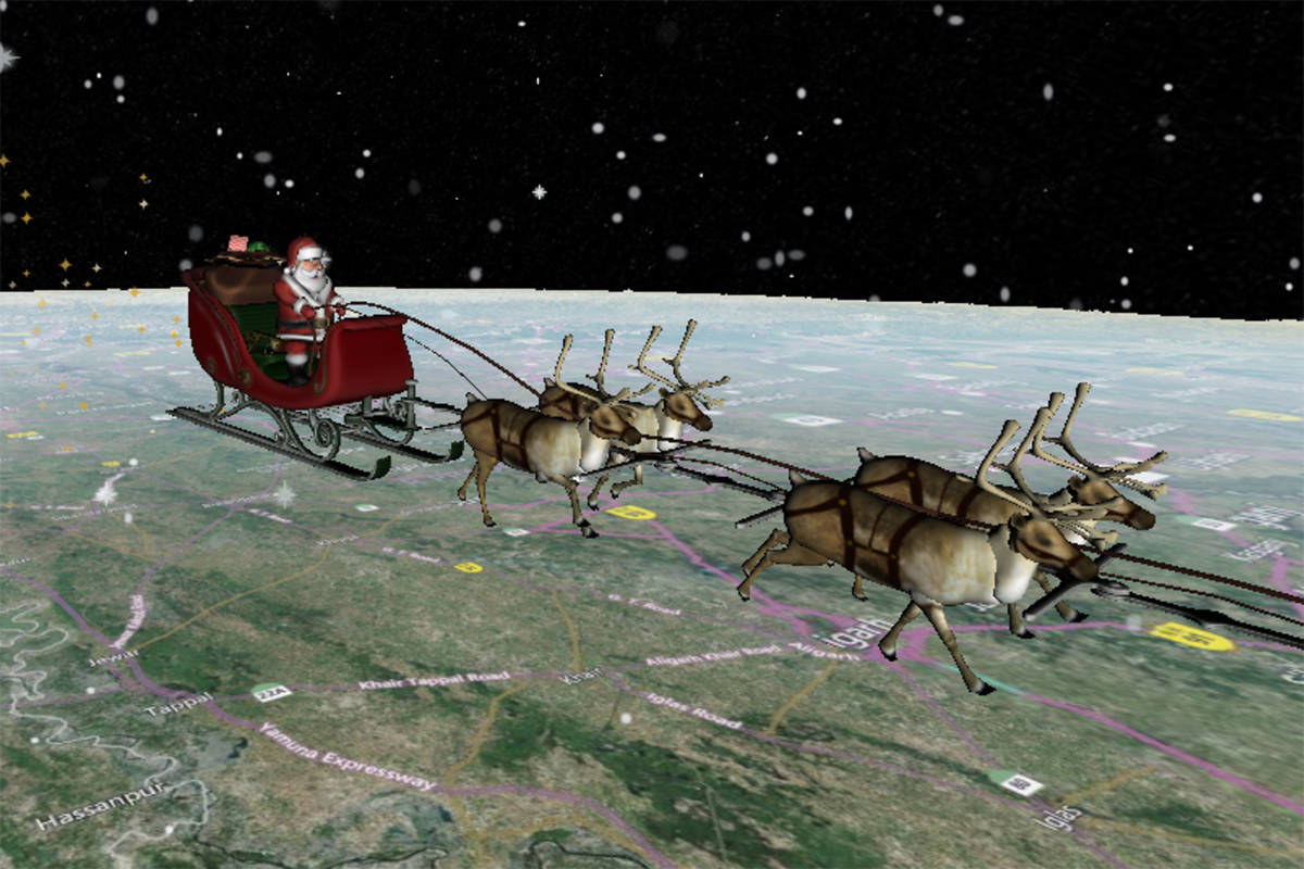Santa and his sleigh fly over India as they deliver gifts this Christmas. (NORAD)