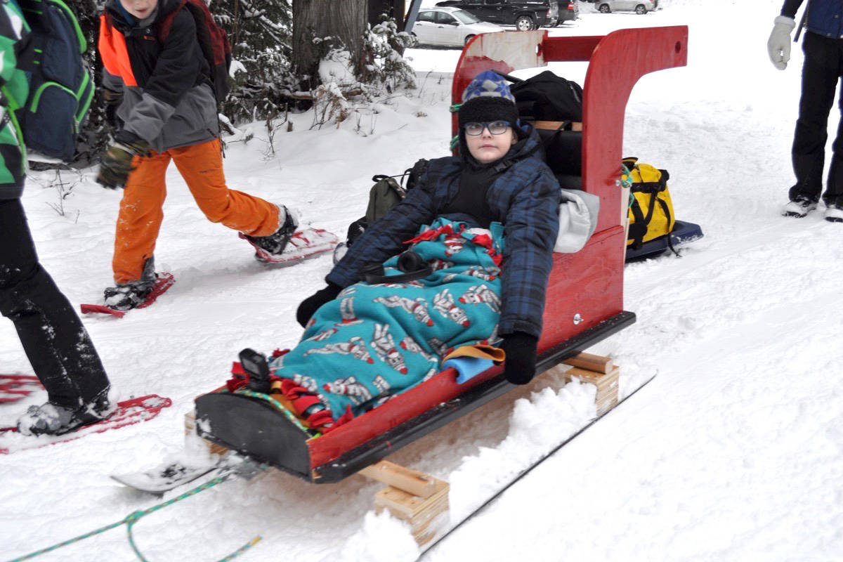 The sled was built for St. Pierre so he could join his class on a winter hike just outside Nelson. Photo: Tyler Harper