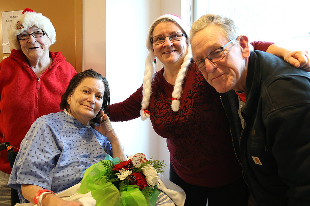 Sandra and Ken Murphy were stunned when a team from Langley's Acts of Kindness ministry, along with lifetime friends Lola and Bella Howet, arrived in Sandra's hospital room in Abbotsford on Christmas Eve with news that their home will be the subject of the 2020 Extreme Home Repair. (Michael Dauncey/Church in the Valley – Acts of Kindness)