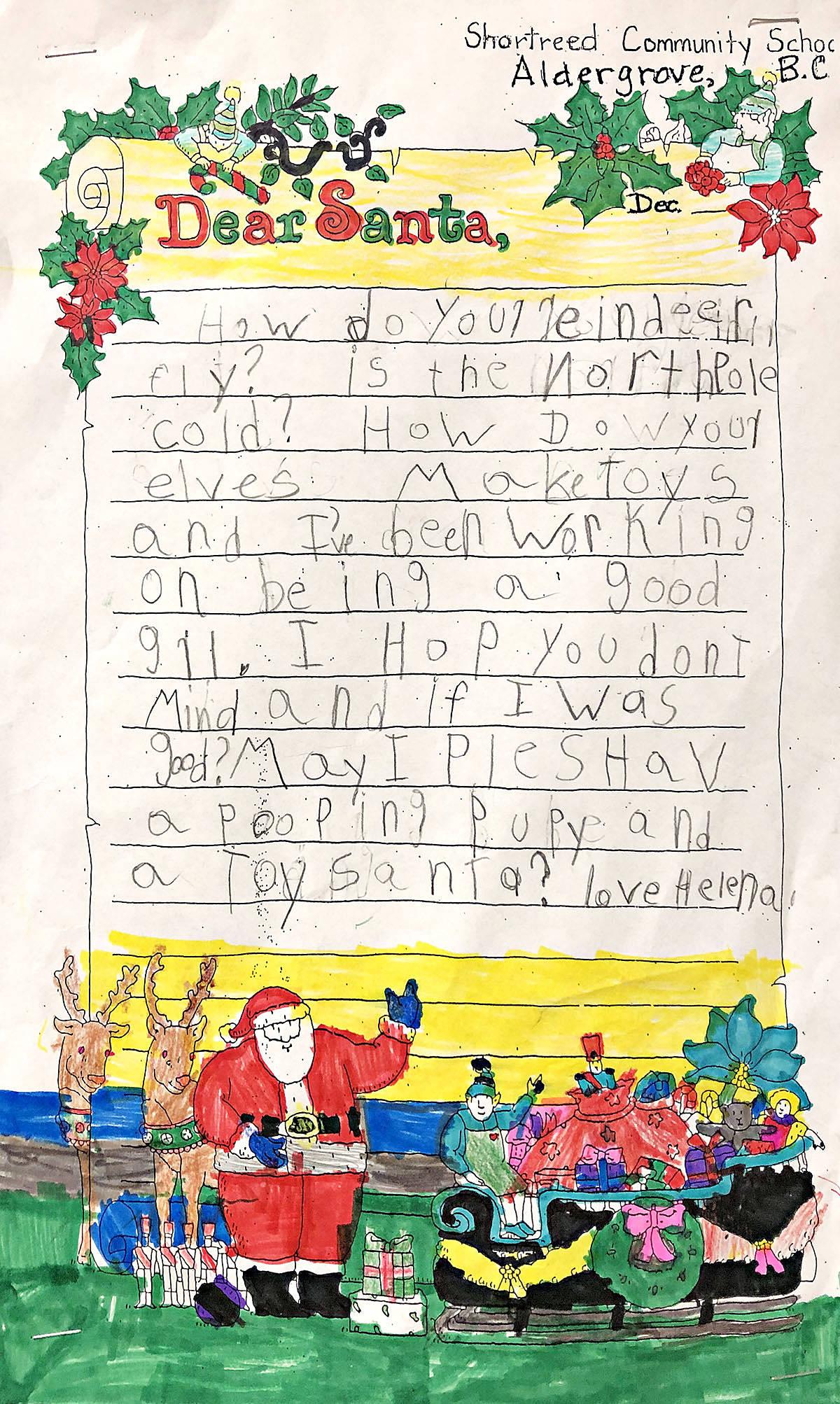 A few Aldergrove Grade 1 students share their Dear Santa letters